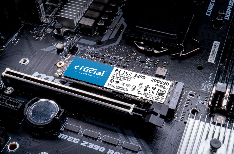 Unidad SSD Crucial P2 1TB PCIe M.2 2280SS, Lectura 2400 MBs - Escritura 1800 MBs