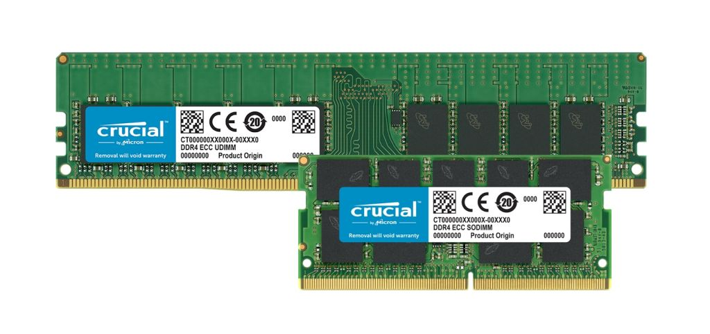 Módulos de memoria ECC Crucial DDR4.