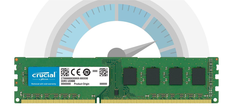 Un módulo de memoria RAM de Crucial en frente de un velocímetro que indica una velocidad muy alta