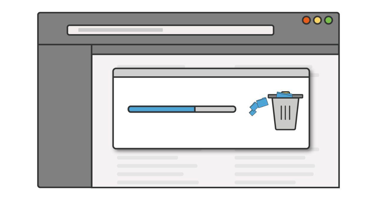 Ilustración de una barra de progreso a medida que los programas o aplicaciones no utilizados se eliminan de un ordenador