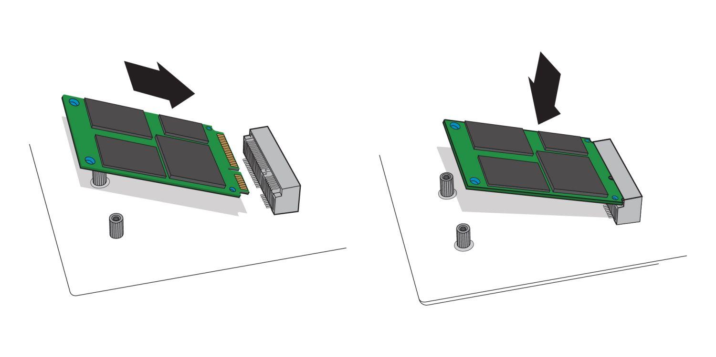 Ilustración para mostrar cómo insertar una SSD mSATA en el receptáculo mSATA de la placa base de un ordenador de sobremesa