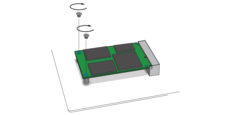 Ilustración para mostrar cómo atornillar una nueva SSD mSATA en el receptáculo mSATA de la placa base de un ordenador de sobremesa