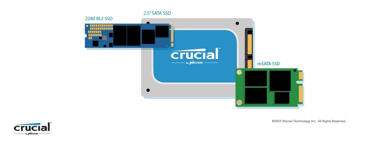 Ilustración de los tres factores de forma diferentes para una SSD