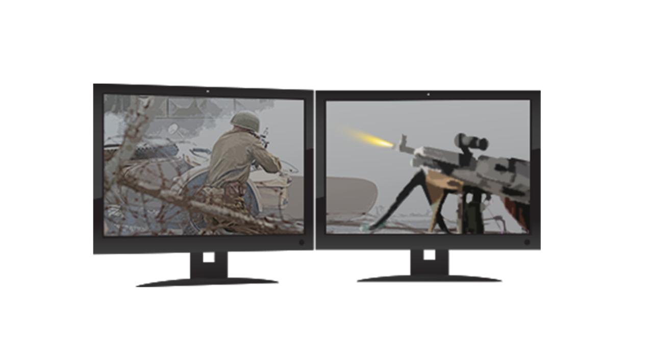 Dos monitores de juego