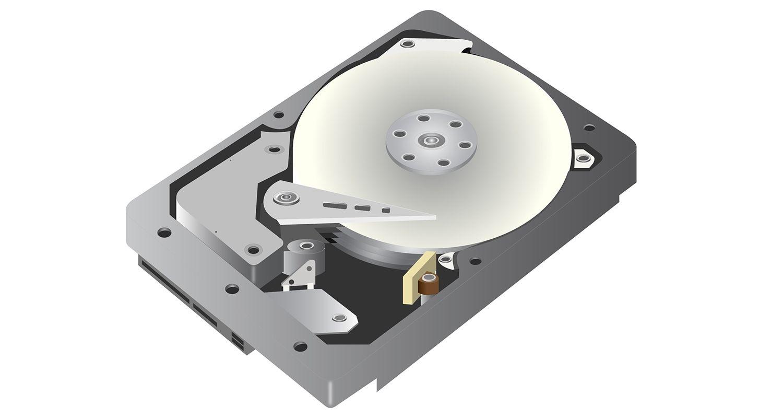Una imagen vectorial en la que se muestra un disco duro (HDD) sobre un fondo blanco