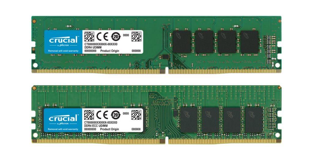 Un módulo Crucial de memoria RAM no ECC y un módulo Crucial de memoria RAM ECC