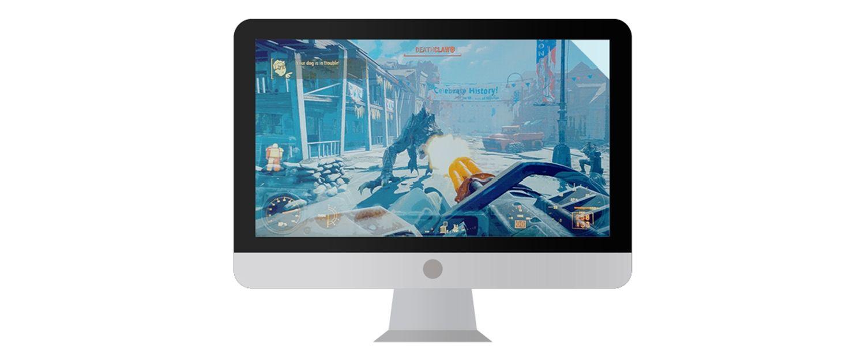 Monitor de ordenador Mac con un videojuego en pantalla.