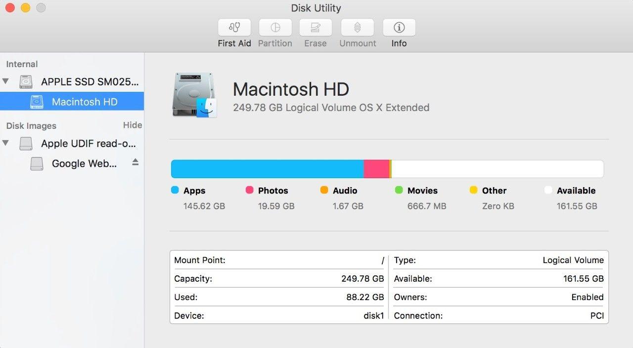 Captura de pantalla de la ventana emergente Utilidad de Discos de un Mac