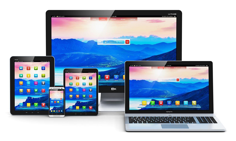 Ordenador de sobremesa, ordenador portátil, tableta y teléfono