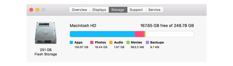 Información de almacenamiento del Mac.