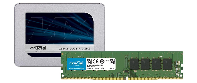 Una SSD Crucial y módulos de memoria RAM de Crucial