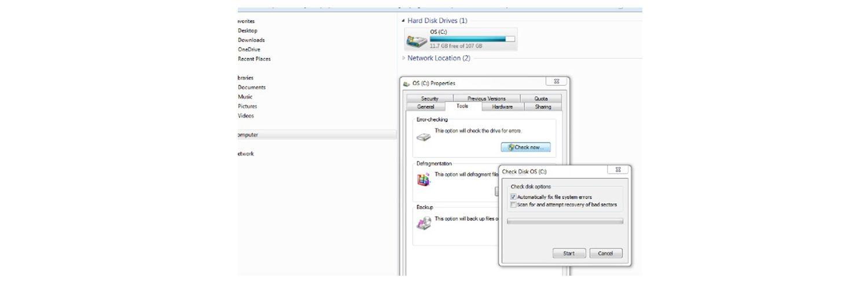 Captura de pantalla de comprobación de si un disco duro está corrupto.