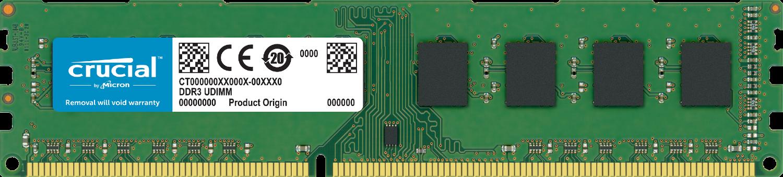 Una memoria RAM de Crucial para ordenador aislada sobre un fondo blanco